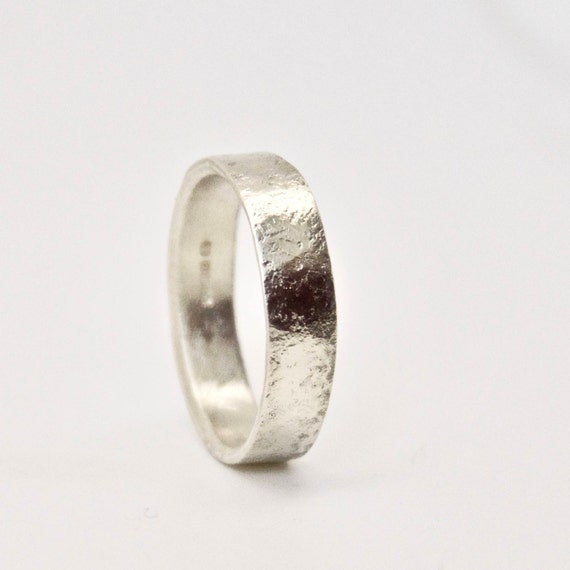 White Gold Wedding Ring with Distressed Texture - 9 Carat