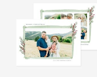 Christmas Card Template for photographers PSD Flat card - Christmas Card - Photoshop Template - CD066
