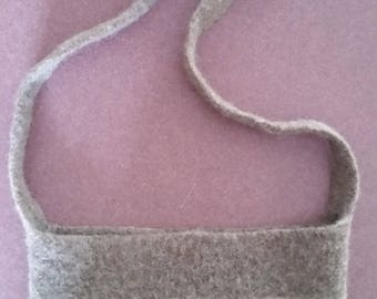 Hand knitted and felted shoulder bag