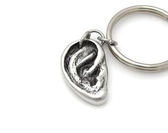 Human Ear Keychain, Handmade Anatomical Hearing Charm, Audiologist