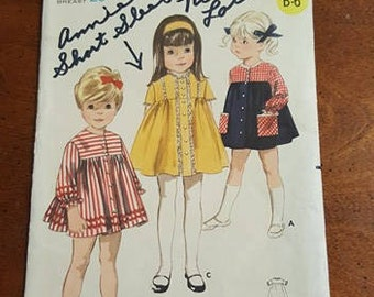 60's Butterick Girl's One-Piece Dress Pattern 3794 Size 1, Bust 20 - 60's Dress / Toddler Dress Pattern / Yoked Dress Pattern