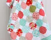 Modern Snowball Twin Quilt, Aqua, Red, Gray and Pink