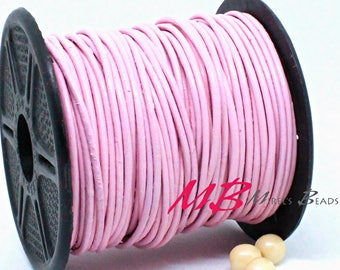 1mm Spool of Light Pink Indian Leather, 5 Yard Spool of Genuine Leather, 15 ft Round Leather for Jewelry Making