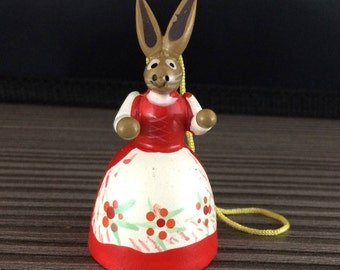 Vintage Wooden Easter Bunny Red Ornament Decoration Figures German Erzgebirge Rabbit #2