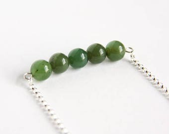 Nephrite Jade Necklace Natural Russian Jade Sterling Silver Chain Natural Stone Bar Necklace Olive Green Necklace Smooth Round Beads #17558