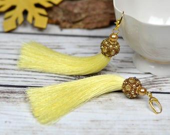 Beauty gift for woman earrings boho girlfriend gift long tassel earrings fringe earrings yellow jewelry bridesmaids earrings ready to ship