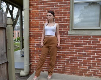 High Waisted Tan Straight Leg Pants