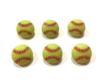 """Softball Buttons (5/8"""") Yellow Green Color Set of 6 Shank Back - 884 D"""