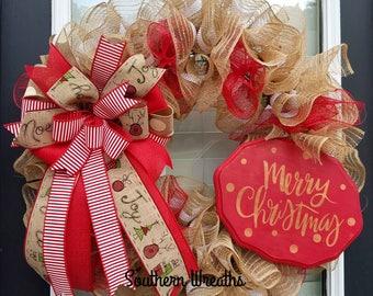 Burlap Christmas Wreath,Merry Christmas Door Wreath,Christmas Wreath,Holiday Decoration,Burlap Door Wreath, Christmas Door Decor