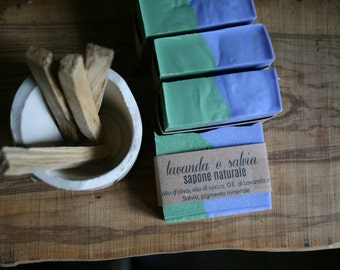 Lavender and sage-natural vegetable soap-vegan soap-Tuscan olive oil