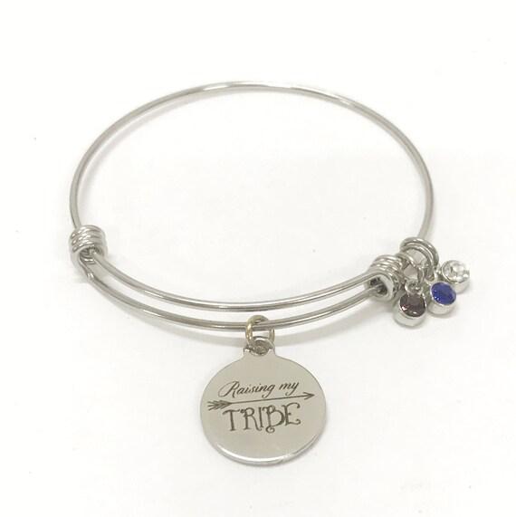 Mother's Birthstone Bracelet, Raising My Tribe Bracelet, Mom Birthstone Bracelet, Mom Gift, Gift For Mom, Birthstone Bracelet, Mother Gift