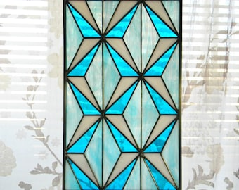 Geometric Stained Glass Window Panel in Turquoise, Blue, and White - Ready to Ship
