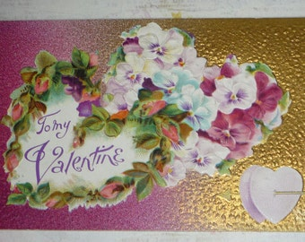 To My Valentine Pansies and Hearts, Purple and Gold Antique Postcard