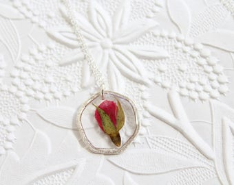 Red Rose Silver Hexagon Pressed Flower Necklace