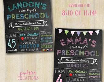 First Day of School Sign, Printable Back to School Print, Custom Chalkboard School Sign,1st day of school, PRINTABLE, DIGITAL, 11x14, 8x10
