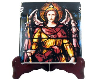 St Michael the Archangel - handmade St Michael icon on tile - Saint Michael Archangel - St Michael art - Saint Michael icon - angels art
