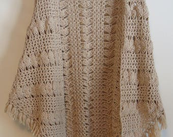 Tan hand-crocheted shawl