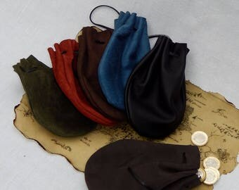 Leather pouch, drawstring. Leather coin purse, jewellery pouch. Medicine pouch, dice, medieval pouch, LARP, re-enactment, gift/ gem pouch.
