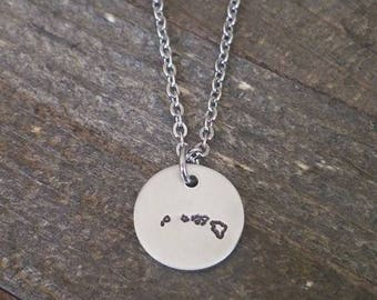 HAWAII hand stamped necklace