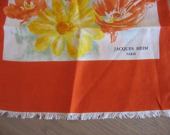 Jacques Heim 1950s Scarf. French fashion designer. Vintage silk orange & yellow flowers wrap. Great condition. Original Gift from France