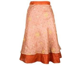Embroidered Silk Skirt, Wrap Skirt, Unique Clothing, Travel Skirt, Reversible Skirt, Plus Size Skirt, Silk Wrap Skirt, Silk Skirt