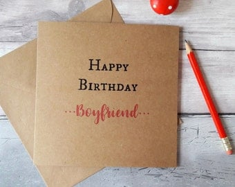 Boyfriend birthday card, birthday greetings boyfriend, cards for boyfriend, cards for him, happy birthday, simple quote, Kraft brown square