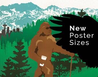 Seattle Wa Where BigFoot Gets His Brew Poster Digital Art Print
