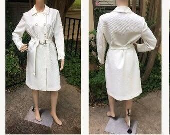 Mod Trench Coat Vintage 60s 70s White Butte Knit 14 16 L XL