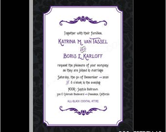 MANSION BROCADE / Dark Haunted Mansion Goth Wedding or Party Invitations Announcements