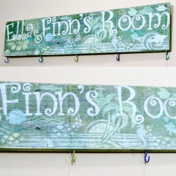 Nursery wall decor /baby name sign custom/ kids bedroom coat rack shower gift personalized fancy letters 8 colorful hooks/ kids coat rack
