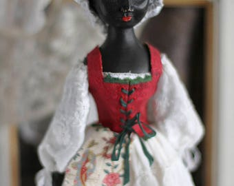 Mary I, Queen Anne style black wooden doll