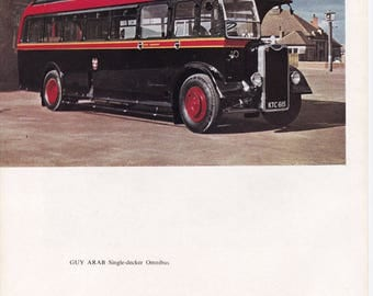 Green Singer British 50s car advert Guy Arab omnibus public transport veteran motoring vintage print office décor gift for him car lover