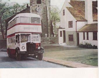 Double decker omnibus Leyland Daimler British 50s car advert transport ad veteran motoring vintage print gift for him car lover