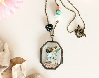 "Collier Frida Kahlo ""Be yourself"" - pendentif locket double vitre"
