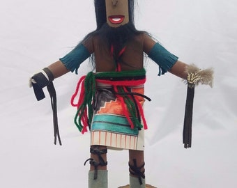 Anolia Face Mask Kachina Hand Carved Painted Signed Sculpture Dancer Figure