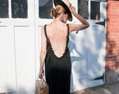 RESERVED for MELODY Red Open Back Dress - Long Bohemian Backless Dress - Long Beach Cover Up  - Size Medium