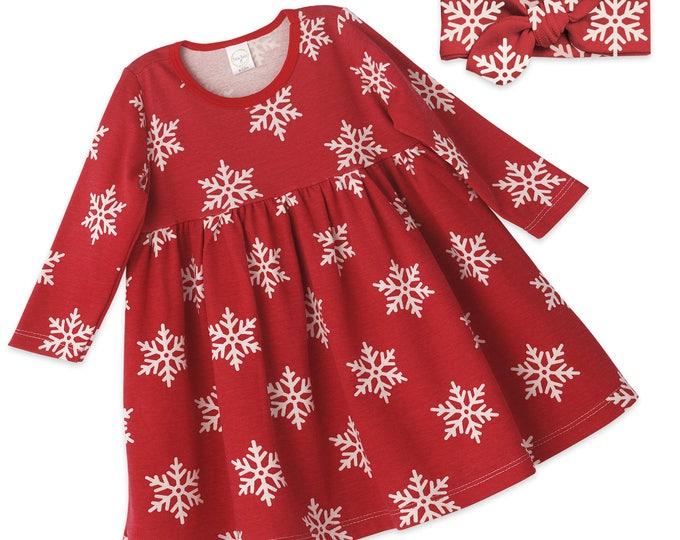 Baby Girl Christmas Dress, Baby Girl Christmas Red Holiday Outfit, Baby Girl Red Snowflake Dress, Holiday Baby Dress Tesa Babe