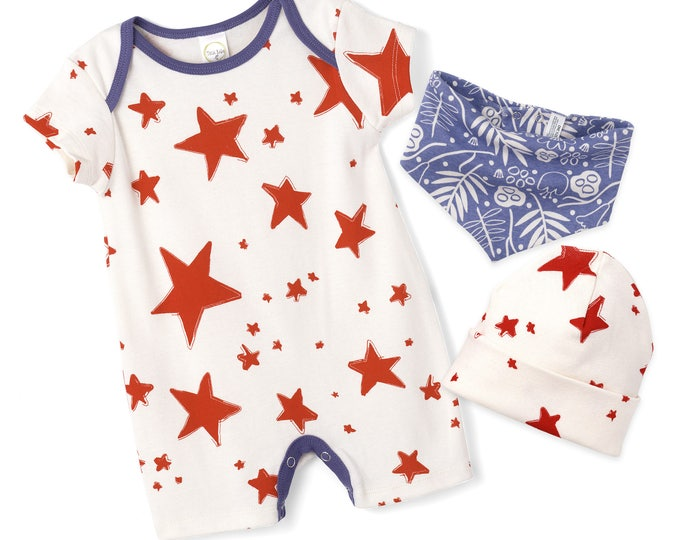 Newborn Baby 4th July Romper, Baby Girl Red Stars Blue Shorts Romper, Newborn July 4, Baby Boy July 4th Star Outfit, Tesa Babe RP890SDIO0000