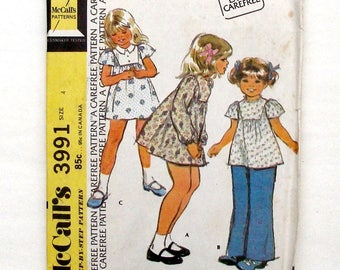 Vintage 70's McCall's Toddler Girls' Dress or Top Sewing Pattern #3991 - UNCUT - Size 4 (Breast 23)