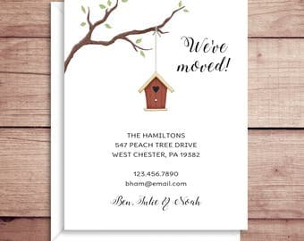 Moving Announcements - New Address  - Birdhouse Announcements - New Home - Birdhouse Moving Announcement - Housewarming Invitation