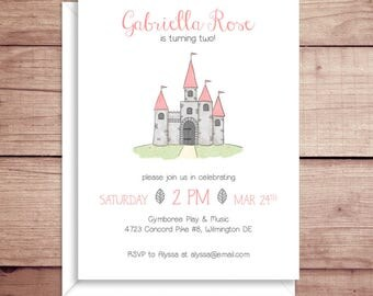 Castle Invitations - Princess Castle Invitations - Birthday Party Invitations - Kids Birthday Invitations - Custom Invitations