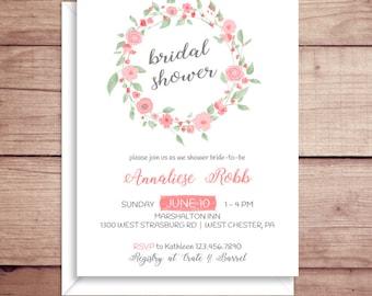 Bridal Shower Invitations - Rose Shower Invitations - Wedding Shower Invitations - Floral Shower Invitations - Floral Wreath Invitations