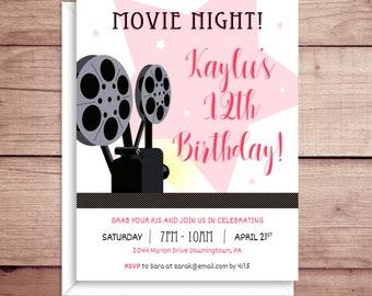 Movie Night Birthday Party Invitations - Birthday Invitations - Movie Party Invitations - Film Party Invitations - Sleepover Invitations