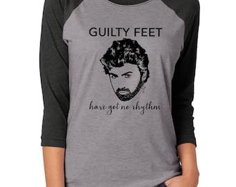 George Michael t-shirt baseball tee shirt Careless Whisper wham 80s singer