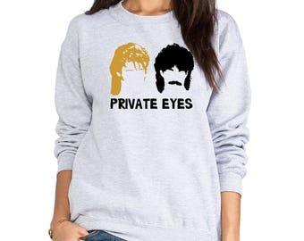 Hall and Oates Private Eyes fleece sweatshirt crew neck band 80s music