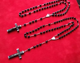 2 Vintage 40's 50's Black Acrylic Unbreakable Rosaries / 2 Vintage Black Rosaries / Catholic Supplies / Religious Supplies