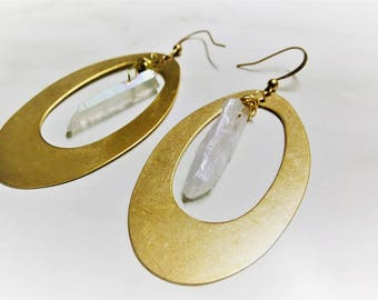 Raw Brass Earrings, Quartz Earrings, Crystal Earrings, Natural Earrings, Boho Earrings, Brass Earrings, Stone Earrings, Crystal Healing Gift