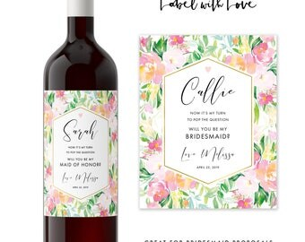 Floral Bridesmaid Wine Label Set / Will you be my Maid of Honor Gift / Bridesmaid Proposal Idea / Floral Bridal Party Gift Idea