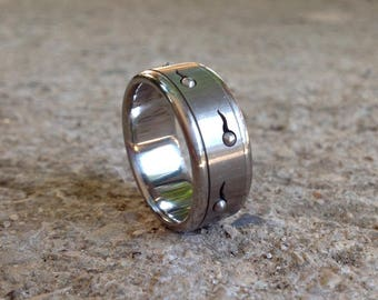 Cool Mens Ring, Sperm Spinner Ring, Mens Stainless Steel Jewelry, Kinetic Jewelry, Unique Mens Wedding Band, Pride Ring Size 6.75-11.25