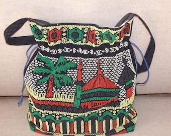 Vintage Beaded Bag - Palm tree and House - Black white green red, summer bag, beads, crossbody bag, festival bag summer accessory, beach bag